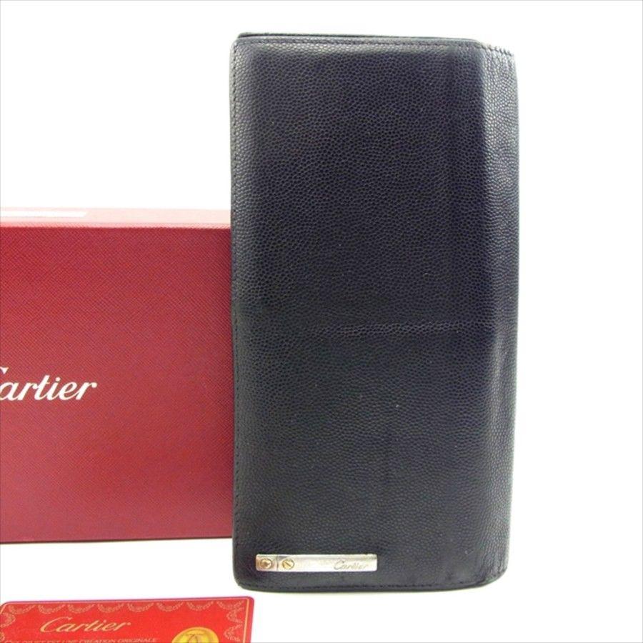 【中古】 【送料無料】 カルティエ 長財布 ファスナー付き 長財布 ブラック T4736s