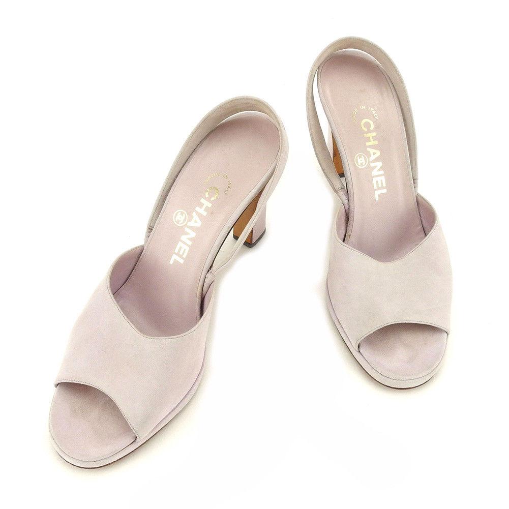 【中古】 【送料無料】 シャネル サンダル 靴 シューズ レディース #36ハーフ パープル スエード Chanel T4848 .
