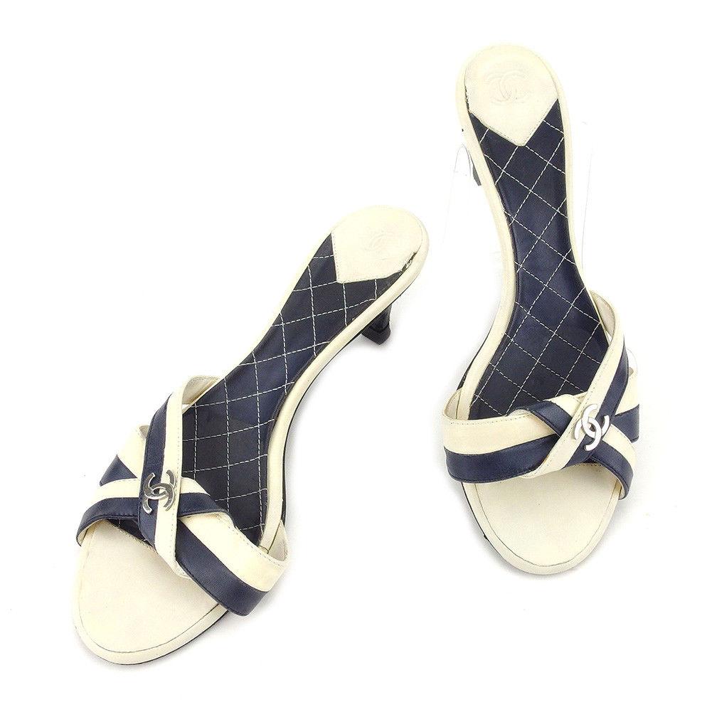【中古】 【送料無料】 シャネル サンダル 靴 シューズ レディース ココマーク #36 ネイビー ホワイト 白 レザー Chanel T4978 .