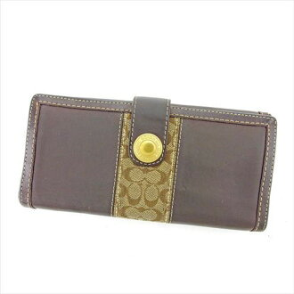 Coach long wallet wallet W hook brown beige gold T5531s.