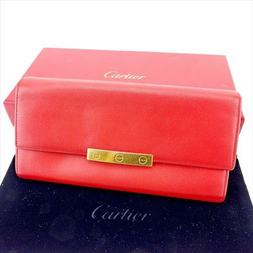 【中古】 【送料無料】 カルティエ 長財布 財布 ファスナー付き レッド ゴールド T5730s