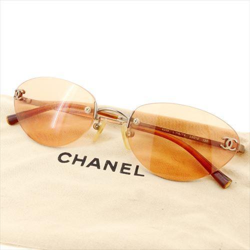 【中古】 【送料無料】 シャネル サングラス メガネ アイウェア オレンジ シルバー ゴールド系 T6376s