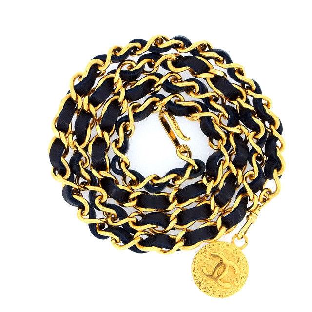 【中古】 【送料無料】 シャネル ベルト レディース ココマーク ブラック×ゴールド Chanel Y129 .