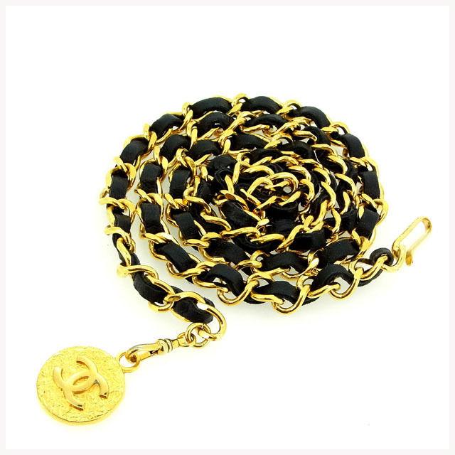 【中古】 【送料無料】 シャネル ベルト チェーンベールト レディース ココマーク ブラック×ゴールドカラー Chanel Y290 .