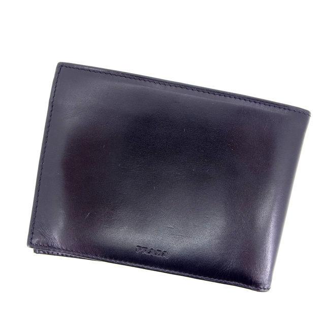 【中古】 【送料無料】 プラダ PRADA 二つ折り財布 /メンズ可 サフィーノ ブラック レザー (あす楽対応)(美品) Y397