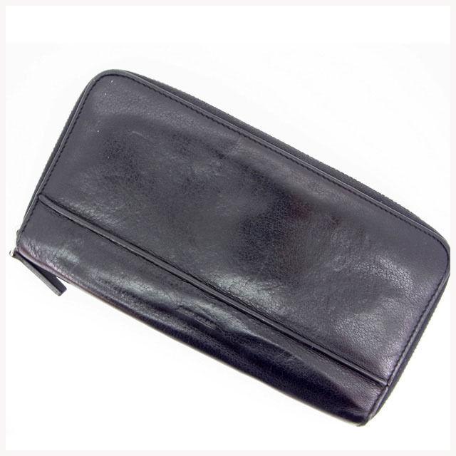 【中古】 【送料無料】 ディオール・オム Dior Homme 長財布 /ラウンドファスナー /メンズ可 ブラック レザー (あす楽対応)(人気・激安) Y563