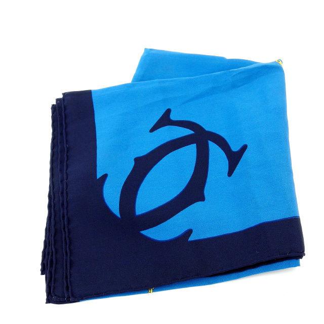 【中古】 【送料無料】 カルティエ Cartier スカーフ メンズ可 マストライン ブルー×ブラック 100%シルク (あす楽対応)人気 美品 Y1280s .