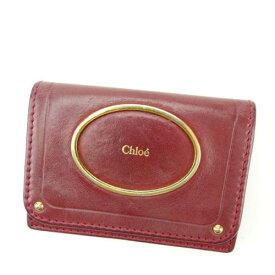 【中古】 【送料無料】 クロエ カードケース 名刺入れ レディース ボルドー Chlo? T15468
