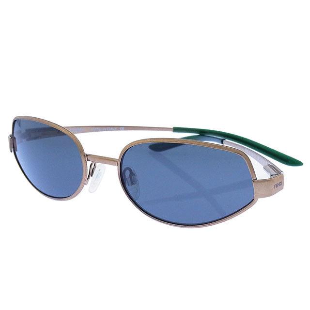 【中古】 【送料無料】 フェンディ FENDI サングラス メガネ メンズ可 サイドロゴ入り フルリム MODSL7357 55 COLR09 クリアダークグリーン×ゴールド ステンレススチール×プラスティック (あす楽対応) 良品 Y2113