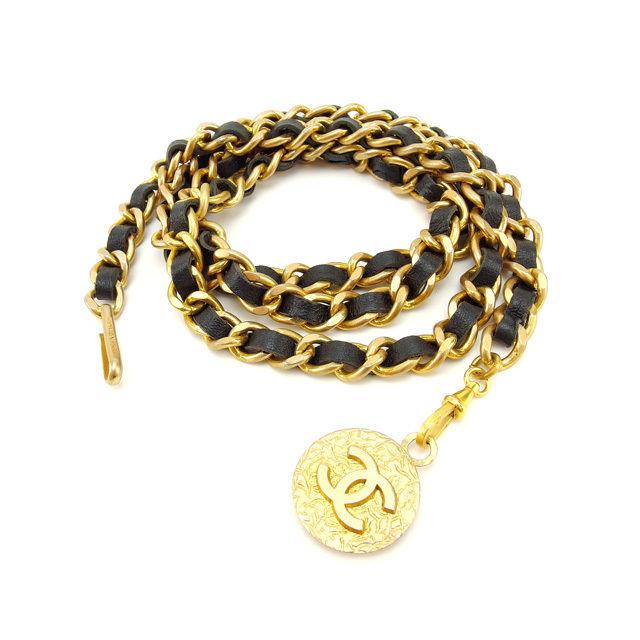 【中古】 【送料無料】 シャネル ベルト レディース ヴィンテージ ゴールド×ブラック Chanel Y2567 .