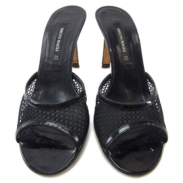 【中古】 【送料無料】 ブルーノマリ BRUNOMAGLI ミュール サンダル シューズ 靴 レディース ♯35 メッシュ編み ブラック レザー (あす楽対応)激安 人気 Y2777s