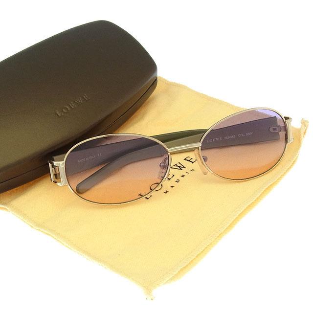 【中古】 【送料無料】 ロエベ LOEWE サングラス メガネ メンズ可 サイドロゴ入り フルリム SLW063 COL300Y クリアパープル×ゴールド系 プラスティック×ゴールド金具 (あす楽対応)美品 Y2779