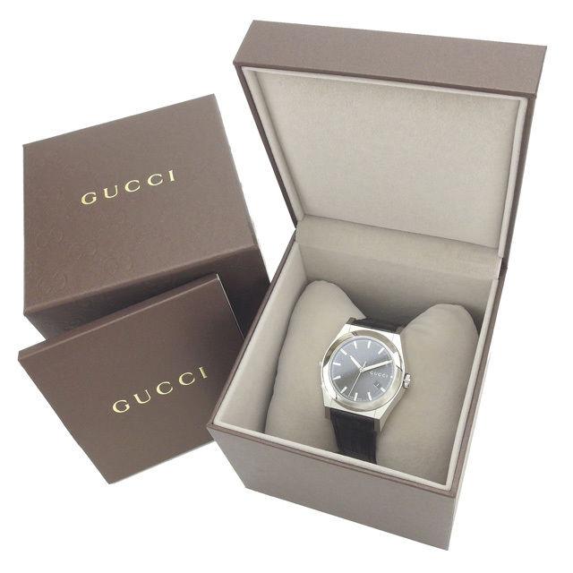 【中古】 【送料無料】 グッチ GUCCI 腕時計 クォーツ メンズ ラウンドフェイス ロゴ パンテオン YA115203 シルバー×ブラック ステンレススチール×サファイアガラス×レザー (あす楽対応) 未使用 Y3182