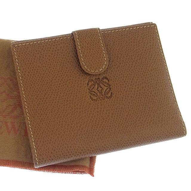 【中古】 【送料無料】 ロエベ LOEWE Wホック財布 二つ折り コンパクトサイズ メンズ可 アナグラム ブラウン レザー (あす楽対応)人気 激安 Y890s .