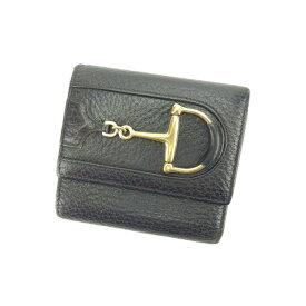 d99f3c861554 【中古】 グッチ Gucci 三つ折り財布 財布 ブラック×ゴールド ホースビット レディース Y4051s