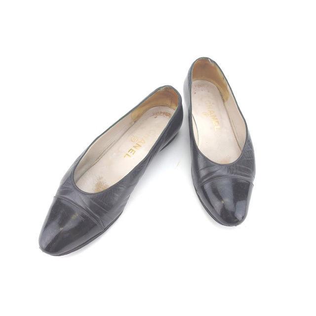 【中古】 【送料無料】 シャネル パンプス シューズ 靴 レディース ラウンドトゥ ♯35 ブラック Chanel Y4226 .