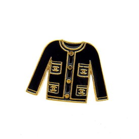 98df1cea40f2 中古 【中古】 シャネル CHANEL ブローチ レディース ヴィンテージ ジャケットモチーフ ゴールド×ブラック ゴールド金具 (あす楽対応)人気  Y4678s .