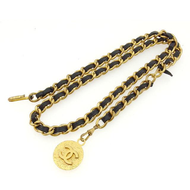 【中古】 【送料無料】 シャネル ベルト レディース チェーン ヴィンテージ ゴールド×ブラック Chanel Y5006 .