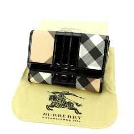 【中古】 【送料無料】 バーバリー Wホック財布 二つ折り財布 レディース チェック ベージュ系×ブラック Burberry T11038