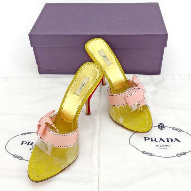 【中古】 【送料無料】 プラダ PRADA ミュール サンダル シューズ 靴 レディース ♯37 ピンヒール リボン ピンク×ゴールド×レッド シルクサテン×レザー 良品 Y6401
