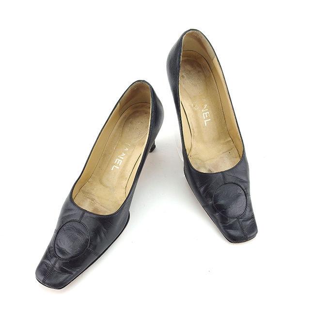 【楽天スーパーSALE】 【20%OFF】 【中古】 【送料無料】 シャネル パンプス シューズ 靴 レディース ココマーク ♯36ハーフC スクエアトゥ ブラック レザー Chanel Y6514