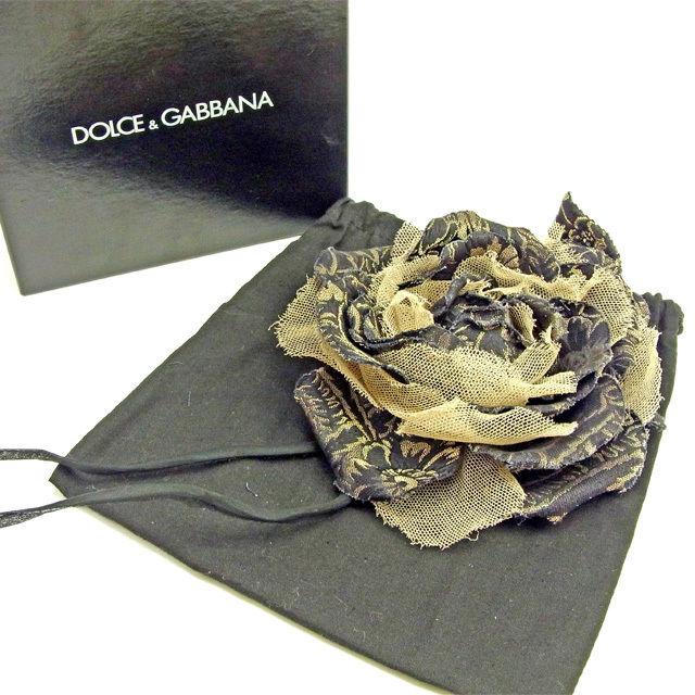 【中古】 【送料無料】 ドルチェ&ガッバーナ コサージュ ブローチ レディース フラワー ブラック×ゴールド×ベージュ Dolce & Gabbana Y6614