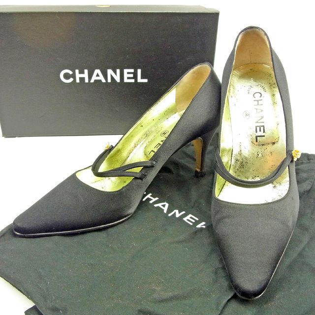 【楽天スーパーSALE】 【20%OFF】 【中古】 【送料無料】 シャネル パンプス #36 1/2 レディース カメリア ブラック サテン Chanel Y6707