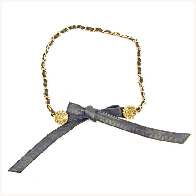 【中古】 【送料無料】 シャネル ベルト レディース チェーン ブラック×ゴールド レザー×ゴールドメッキ Chanel Y7234 .