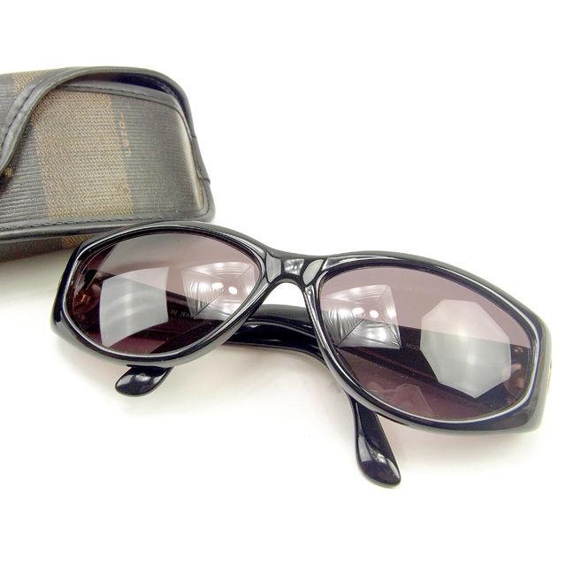 【中古】 【送料無料】 フェンディ FENDI サングラス メガネ メンズ可 サイドFFマーク付き フルリム ブラック×ゴールド プラスティック×ゴールド金具 人気 Y7357 .