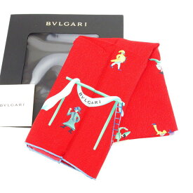 【中古】 【送料無料】 ブルガリ スカーフ 大判サイズ ファッションアイテム レディース サーカス柄 レッド×ブルー系 Bvlgari D1388