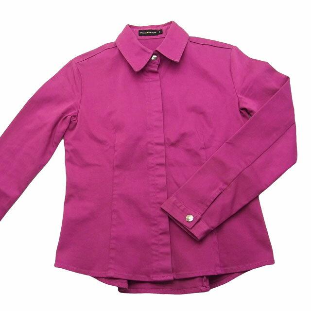 【中古】 【送料無料】 ダナキャラン・ジーンズ DKNY jeans ジャケット シャツ パープル系 綿95%×ポリウレタン5% (あす楽対応) F311s .