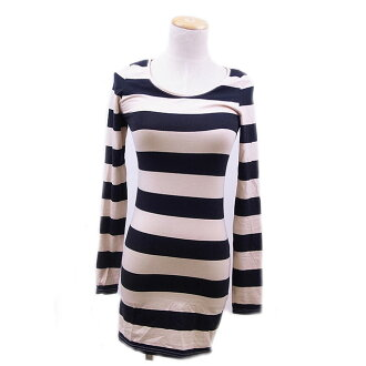 One point of H & M tunic stripe beige X black H&M Lady's present present thing popularity quality goods spring brand quickness shipment fashion adult stock disposal fashion T15590.