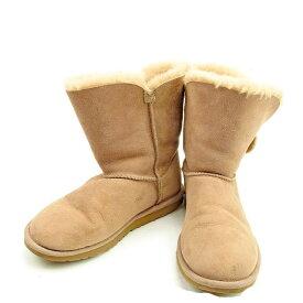 6545d774eba2 中古 【スーパーSALE】 【20%オフ】 【中古】 アグ UGG ブーツ シューズ 靴 レディース ♯22 ムートン ベイリーボタン ベージュ シープスキン  良品 T424 .