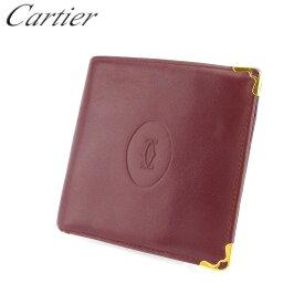 【中古】 カルティエ 二つ折り 財布 さいふ レディース メンズ マストライン ボルドー ゴールド レザー Cartier 【カルティエ】 B1109