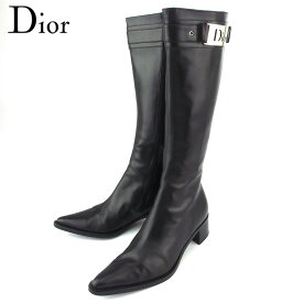 【マラソン】 【10%オフクーポン】 【ラスト1点】 【中古】 ディオール ブーツ シューズ 靴 レディース ♯35ハーフD ロゴプレート付き ロングブーツ ブラック シルバー レザー Dior T19603