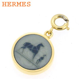 【中古】 エルメス チャーム ペンダントトップ レディース メンズ コロゾ ゴールド ネイビー グレー 灰色 HERMES T10056