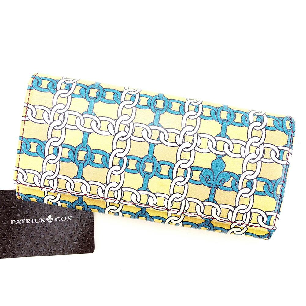 【中古】 【送料無料】 パトリック コックス L型ジップ長財布 長財布 二つ折り財布 財布 ベージュ×ホワイト×ターコイズブルー D1719s .