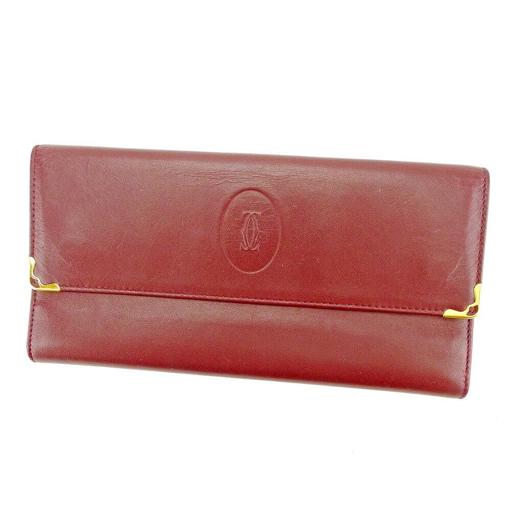 【送料無料】 カルティエ 長財布 財布 がま口 三つ折り ボルドー×ゴールド 【中古】 S561s