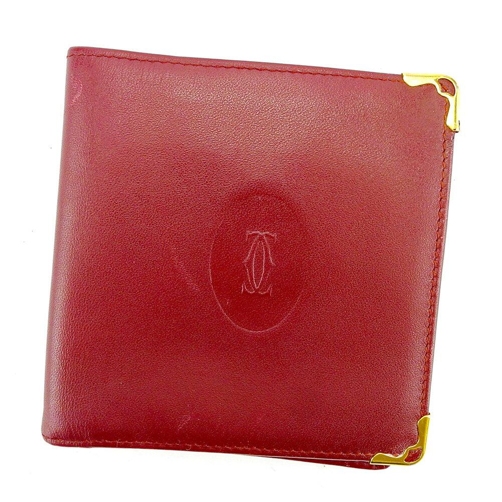 【送料無料】 カルティエ 二つ折り 財布 ボルドー×ゴールド 【中古】 S567s