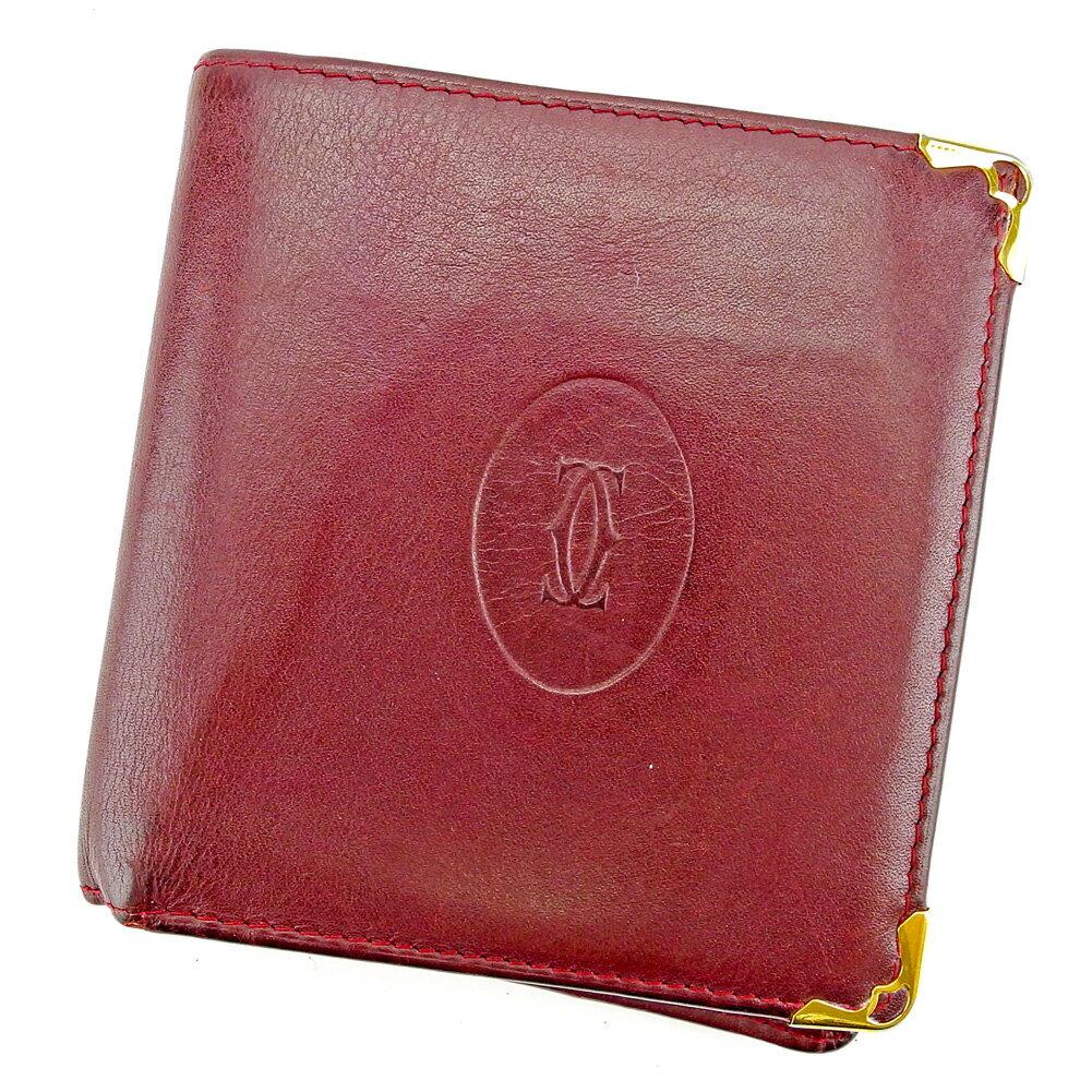 【送料無料】 カルティエ 二つ折り 財布 ボルドー×ゴールド 【中古】 S590s