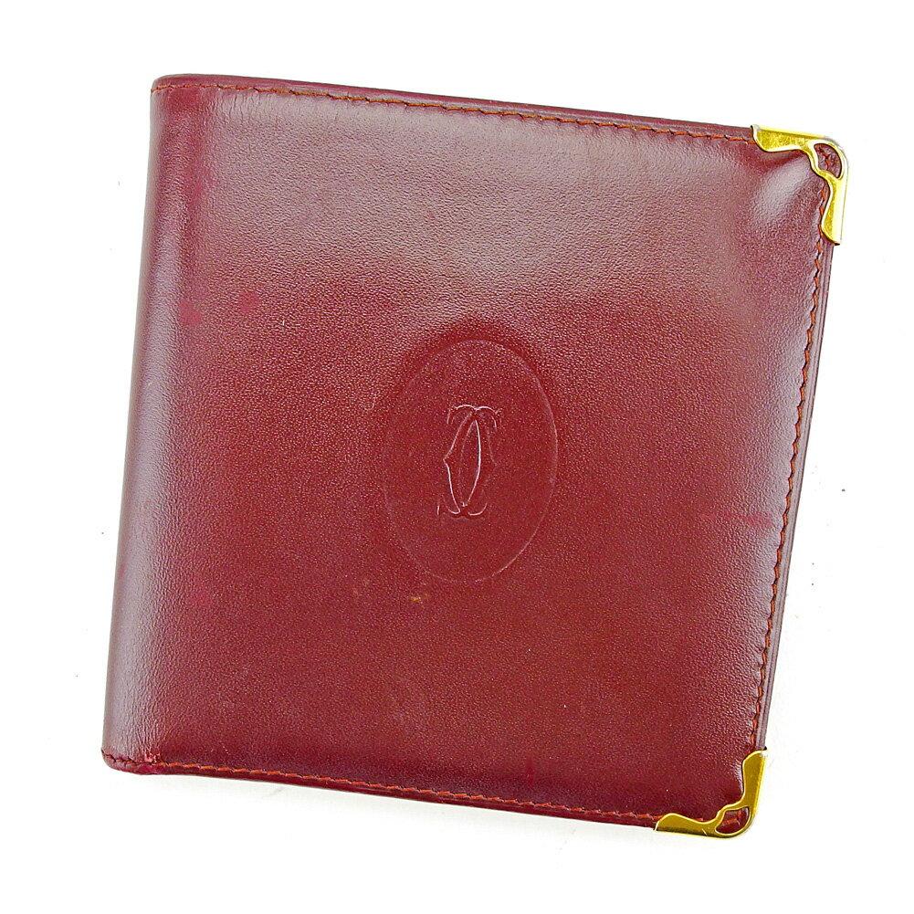 【送料無料】 カルティエ 二つ折り 財布 ボルドー×ゴールド 【中古】 S591s