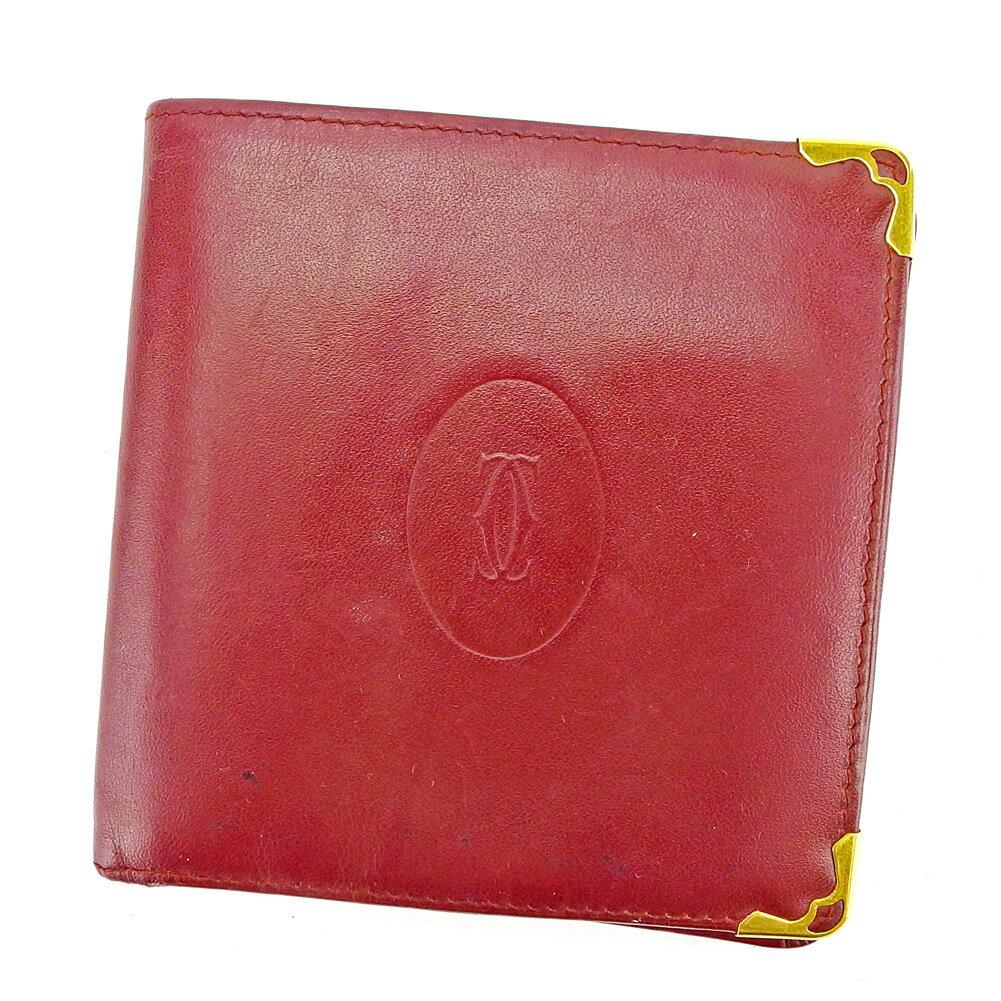 【送料無料】 カルティエ 二つ折り 財布 ボルドー×ゴールド 【中古】 S613s