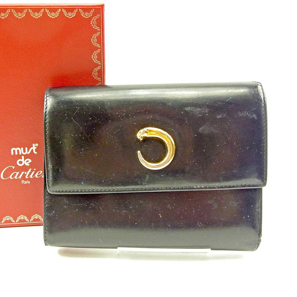 【送料無料】 カルティエ 三つ折り 財布 長財布 ブラック×ゴールド 【中古】 S641s