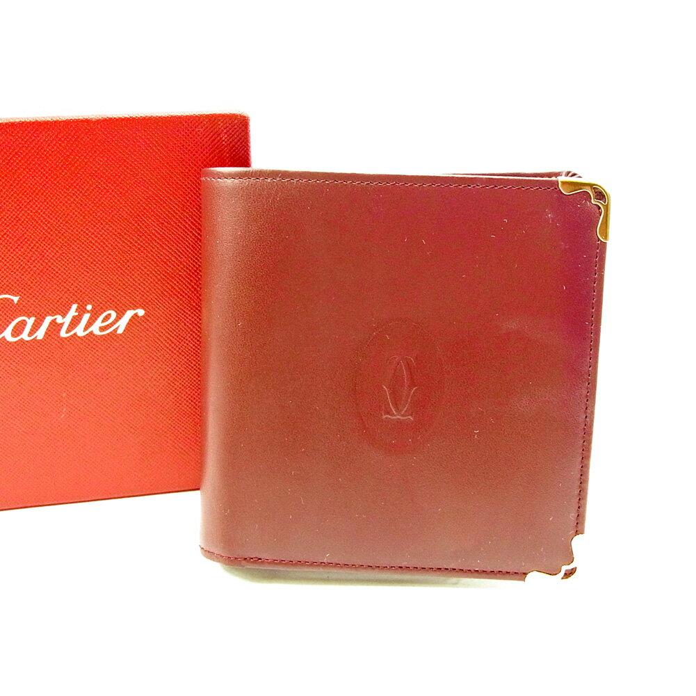 【送料無料】 カルティエ 二つ折り 財布 ボルドー×ゴールド 【中古】 T3737s