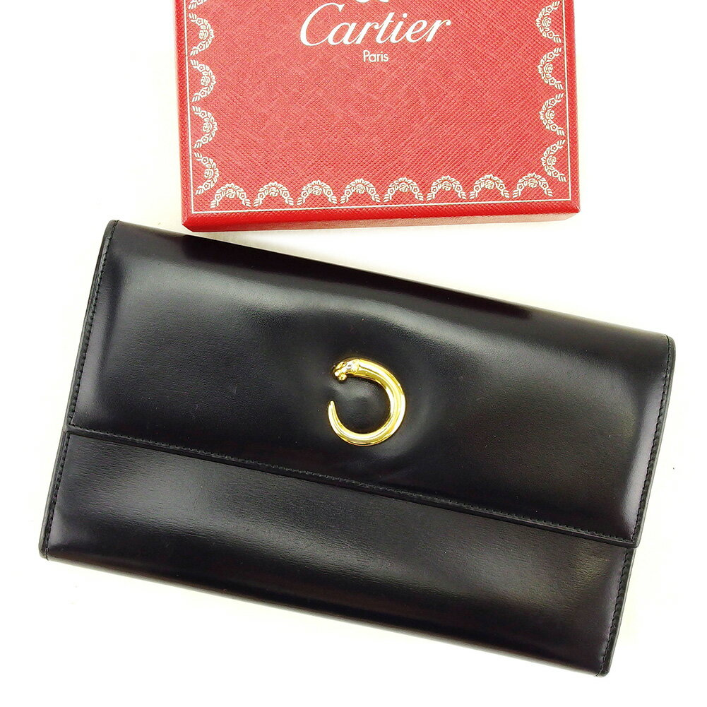 【送料無料】 カルティエ 長財布 財布 三つ折り ブラック×ゴールド 【中古】 T3877s