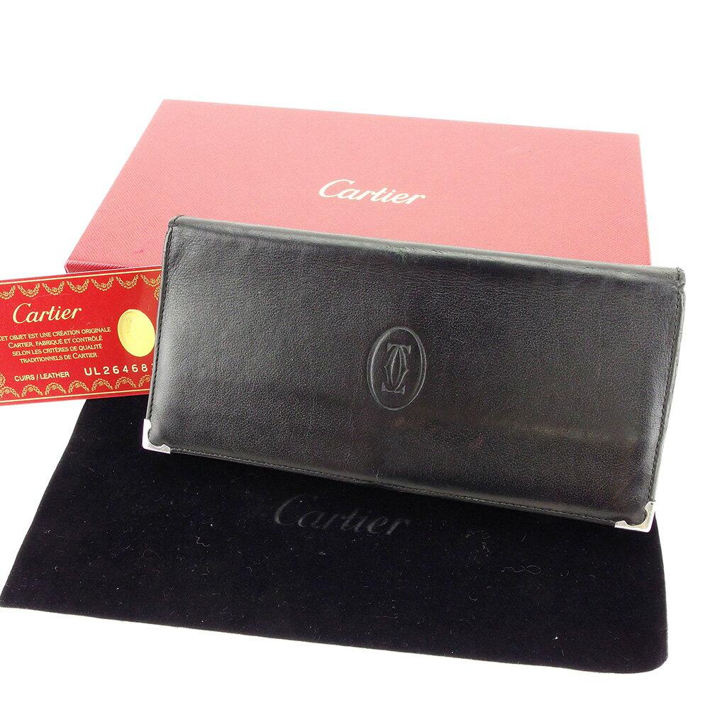 【送料無料】 カルティエ 長財布 ファスナー付き 財布 ブラック×ボルドー×シルバー 【中古】 T3900s