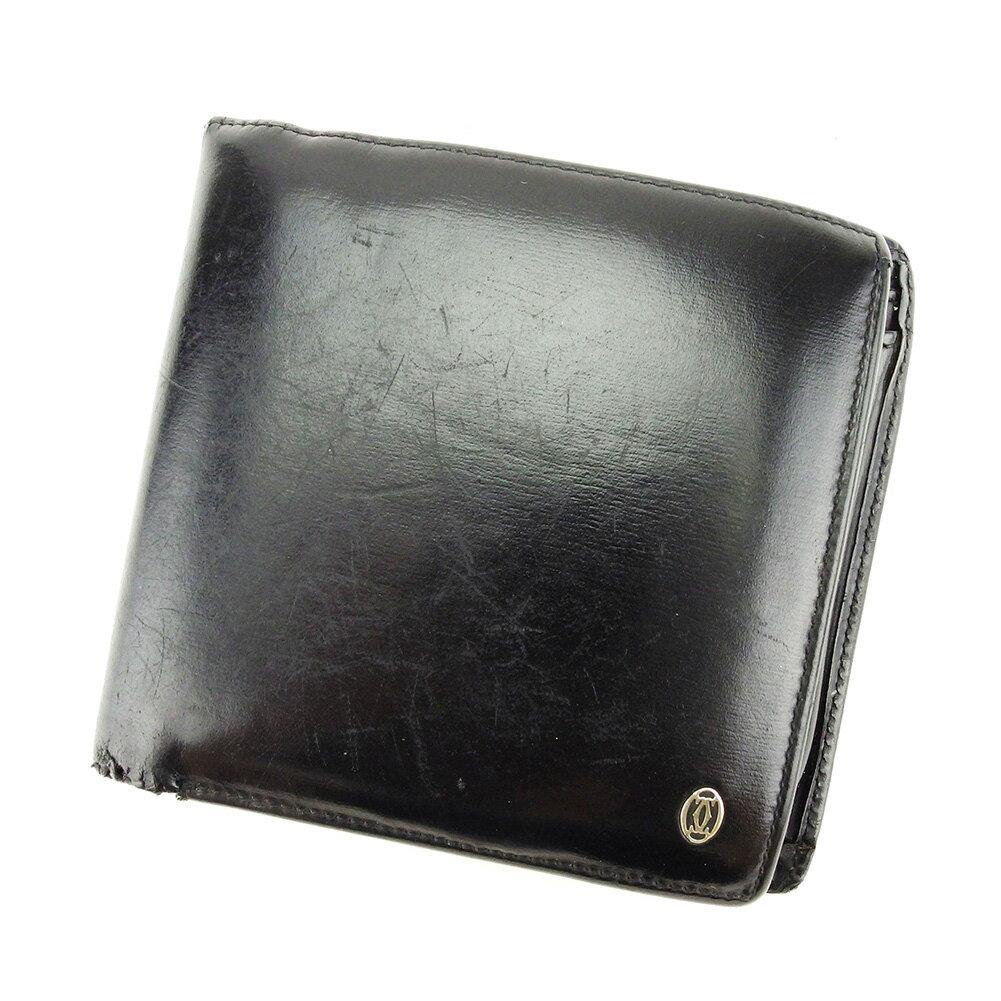 【送料無料】 カルティエ 二つ折り 財布 ブラック×シルバー 【中古】 T3907s
