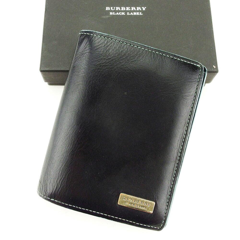 バーバリー ブラックレーベル BURBERRY BLACK LABEL 二つ折り 財布 メンズ ロゴプレート ブラック×ブルー×シルバー レザー 人気 【中古】 T3966
