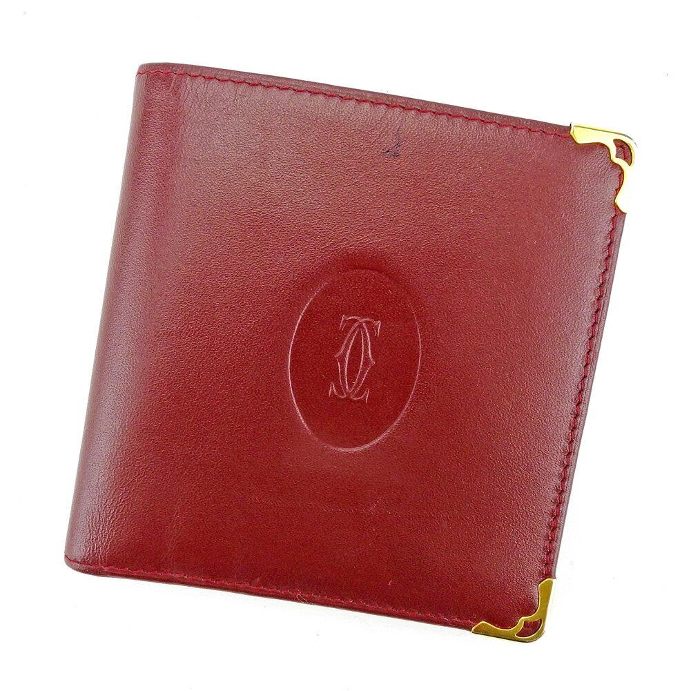 【送料無料】 カルティエ 二つ折り 財布 ボルドー×ゴールド 【中古】 T4061s
