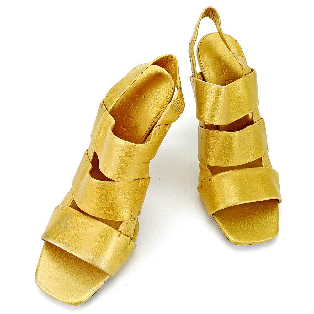 セリーヌ CELINE サンダル シューズ 靴 レディース ♯35ハーフ ピンヒール トリプルバンド ゴールド系 レザー 人気 【中古】 T4108